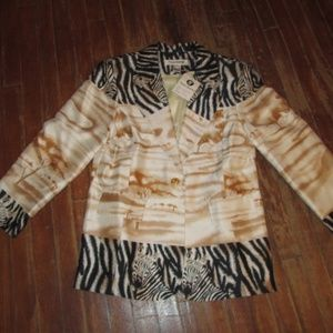 Animal Exotic Silk Blazer Festival Zebra sexy Coat